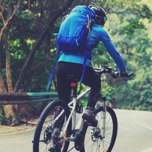 Plecak rowerowy wykorzystany podczas przejazdu rowerowego